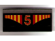 Part No: 2440pb014  Name: Hinge Panel 6 x 3 with Red and Yellow Stripes and Red Number 5 Pattern (Sticker) - Set 1821