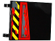 Part No: 2525pb009L  Name: Flag 6 x 4 with Black and Yellow Danger Stripes, Hatch with 3 Screws and Dark Bluish Gray Splatters Pattern Model Left Side (Sticker) - Set 70750
