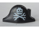 Part No: 2528pb07  Name: Minifigure, Headgear Hat, Pirate Bicorne with Minifigure Skull and Wrenches Crossbones Pattern
