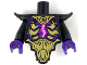 Part No: 28680pb04c01  Name: Torso, Modified Short with Smooth Armor Breastplate with Shoulder Pads, Gold Armor Plates, Magenta Energy Pattern / Black Arms / Dark Purple Hands