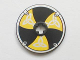 Part No: 2958pb009  Name: Technic, Disk 3 x 3 with Viking Shield Black / Yellow 6 Section Pattern (Sticker)