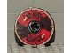 Part No: 2958pb028  Name: Technic, Disk 3 x 3 with Viking Shield Black / Red Section and Black Serpent Pattern (Sticker)
