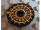 Part No: 2958pb043  Name: Technic, Disk 3 x 3 with Gold on Black Pattern (Sticker) - Set 8103