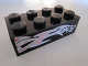 Part No: 3001pb087L  Name: Brick 2 x 4 with Silver and Pink Flames and '57' on Black Background Pattern Model Left Side (Sticker) - Set 8495