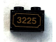 Part No: 3004pb132  Name: Brick 1 x 2 with Gold '3225' Pattern (Sticker) - Set 3225