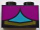 Part No: 3004pb168  Name: Brick 1 x 2 with 2 Magenta Quarter Ovals, Medium Azure Center and Gold Line Pattern (BrickHeadz Anna Chest)