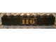 Part No: 3008pb008  Name: Brick 1 x 8 with Gold '116' Pattern Centered