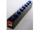Part No: 3008pb115  Name: Brick 1 x 8 with 'V8' and Orange Slope Pattern on Both Ends (Stickers) - Set 8898