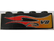 Part No: 3010pb044R  Name: Brick 1 x 4 with Flame and V8 Right Pattern (Sticker) - Set 8643
