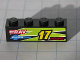 Part No: 3010pb113L  Name: Brick 1 x 4 with Yellow '17' and Red 'HOURZ' and 'eRAV' and 'RUSA' and Black and Lime Flames Pattern Model Left side (Sticker) - Set 8119