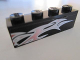 Part No: 3010pb147L  Name: Brick 1 x 4 with Silver and Pink Flames on Black Background Pattern Model Left Side (Sticker) - Set 8495