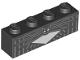 Part No: 3010pb257  Name: Brick 1 x 4 with White Chest, Silver Vertical Stripes and Bat Collar Pattern (BrickHeadz Jack Skellington Chest)