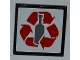 Part No: 30258pb029  Name: Road Sign Clip-on 2 x 2 Square with Red Recycling Arrows and Bottle Pattern (Sticker) - Set 4206