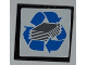 Part No: 30258pb030  Name: Road Sign Clip-on 2 x 2 Square with Blue Recycling Arrows and Paper Stack Pattern (Sticker) - Set 4206
