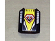 Part No: 30602pb023  Name: Slope, Curved 2 x 2 Lip, No Studs with Coast Guard Logo on Yellow Background Pattern