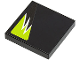 Part No: 3068bpb0300R  Name: Tile 2 x 2 with Groove with Black and Lime Flames Pattern Model Right side (Sticker) - Set 8119