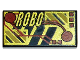 Part No: 3069bpx33  Name: Tile 1 x 2 with RoboForce Gold 'ROBO' and Red Circuitry Pattern