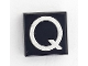 Part No: 3070bpb025b  Name: Tile 1 x 1 with Letter Capital Q Pattern - Larger Font and Parallelogram Line