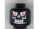 Part No: 3626bpb0233  Name: Minifigure, Head Skull Evil with Eyebrows, White Print, Red Eyes Pattern (Super Ice Drone) - Blocked Open Stud