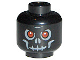 Part No: 3626bpb0270  Name: Minifigure, Head Skull Evil with Scowl, Gray Print, Red Eyes Pattern (Fantasy Era) - Blocked Open Stud