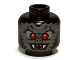 Part No: 3626bpb0799  Name: Minifigure, Head Alien with Fangs, Red Eyes and Dark Bluish Gray Fur Pattern - Blocked Open Stud