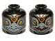 Part No: 3626cpb0890  Name: Minifig, Head Dual Sided Alien Chima Raven with Beak and Gold Crown, Wide Eyes / Narrow Eyes Pattern (Rawzom) - Stud Recessed