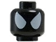 Part No: 3626cpb1072  Name: Minifigure, Head Alien with Large White Eyes Pattern (Comic-Con Spider-Man in Black Symbiote Costume) - Hollow Stud