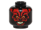 Part No: 3626cpb1443  Name: Minifigure, Head Alien with SW Darth Maul, Red Face, Evil Smile Pattern - Hollow Stud