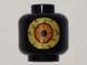 Part No: 3626cpb1527  Name: Minifigure, Head (Without Face) Alien Large Bright Light Yellow Eye with Dark Red Veins and Orange Iris Pattern (Sparkks) - Hollow Stud