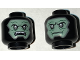 Part No: 3626cpb1576  Name: Minifig, Head Dual Sided Alien Balaclava with Sand Green Skin, Dark Gray Eyes, Neutral / Angry Open Mouth with Teeth Pattern - Stud Recessed