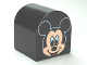 Part No: 3664pb15  Name: Duplo, Brick 2 x 2 x 2 Curved Top with Mickey Mouse Pattern