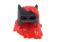 Part No: 39016pb01  Name: Minifig, Hair Combo, Hat with Hair, Batman Cowl with Long Red Hair with Bangs Pattern