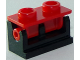 Part No: 3937c11  Name: Hinge Brick 1 x 2 Complete Assembly with Red Top Plate