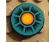 Part No: 4150pb022  Name: Tile, Round 2 x 2 with Dark Turquoise, Orange Circle, Black Wedges Pattern (Sticker) - Set 8266