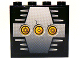 Part No: 4215pb062c  Name: Panel 1 x 4 x 3 with 3 Yellow Circles with Bionicle Code Pattern C on Silver Pattern (Sticker) - Set 8758