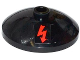 Part No: 43898pb004  Name: Dish 3 x 3 Inverted (Radar) with Red Electricity Danger Sign Pattern (Sticker) - Set 70808