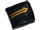 Part No: 44675pb012  Name: Slope, Curved 2 x 2 No Studs, 3 Side Ports Recessed with Gold Arrow Pattern (Sticker) - Set 70747