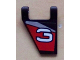 Part No: 44676pb003L  Name: Flag 2 x 2 Trapezoid with White Number 3 on Black, Red, and Silver Background Pattern, Model Left (Sticker) - Set 8381