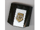 Part No: 45677pb003  Name: Wedge 4 x 4 x 2/3 Triple Curved with World City Gold Police Badge on White Pattern (Sticker) - Set 7030