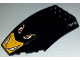 Part No: 45705pb017  Name: Windscreen 10 x 6 x 2 Curved with Angry Penguin Face, Bat Logo and 4 Tickmarks Pattern (Stickers) - Set 7885