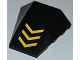 Part No: 47753pb036  Name: Wedge 4 x 4 No Top Studs with 3 Yellow V-Shaped Stripes Pattern (Sticker) - Set 6863