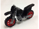 Part No: 50860c06  Name: Motorcycle Dirt Bike, Complete Assembly with Flat Silver Chassis and Red Wheels