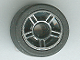 Part No: 50944pb01c01  Name: Wheel 11mm D. x 6mm with 5 Spokes with Silver Outline Pattern with Black Tire 14mm D. x 6mm Solid Smooth (50944pb01 / 50945)