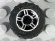 Part No: 50944pb01c02  Name: Wheel 11mm D. x 6mm with 5 Spokes with Silver Outline Pattern with Black Tire 17.5 x 6 with Shallow Staggered Treads (50944pb01 / 51011)
