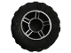 Part No: 50944pb01c03  Name: Wheel 11mm D. x 6mm with 5 Spokes with Silver Outline Pattern with Black Tire 17.5mm D. x 6mm with Shallow Staggered Treads (50944pb01 / 42611)