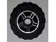 Part No: 50944pb01c04  Name: Wheel 11mm D. x 6mm with 5 Spokes with Silver Outline Pattern with Black Tire 17.5mm D. x 6mm with Shallow Staggered Treads - Band (50944pb01 / 92409)