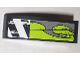 Part No: 50950pb022L  Name: Slope, Curved 3 x 1 No Studs with Danger Stripes and Lime Decorative Pattern Model Left (Sticker) - Set 8211