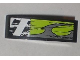 Part No: 50950pb022R  Name: Slope, Curved 3 x 1 No Studs with Danger Stripes and Lime Decorative Pattern Model Right (Sticker) - Set 8211