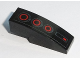Part No: 50950pb111  Name: Slope, Curved 3 x 1 No Studs with Red Circle Back Lights on Black Background Pattern (Sticker) - Set 75168