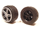 Part No: 54087c02  Name: Wheel 30.4mm D. x 20mm with No Pin Holes, Black Tire 43.2 x 22 ZR, Flat Silver Wheel Cover 5 Spoke without Center Stud - 35mm D. (54087/44309/54086)